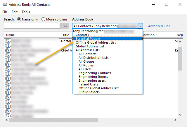 How contacts stored in an Exchange Online public folder show up in an Outlook address book