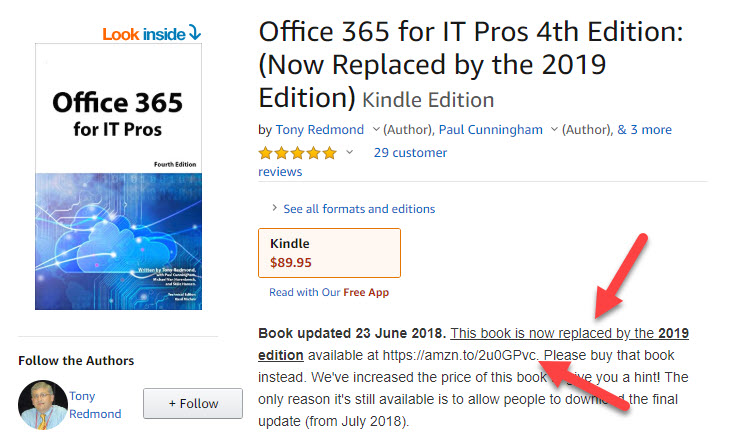 Details of Office 365 for IT Pros (4th edition) on Amazon. This version is now replaced.