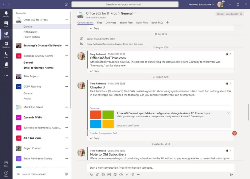 Microsoft Teams user interface