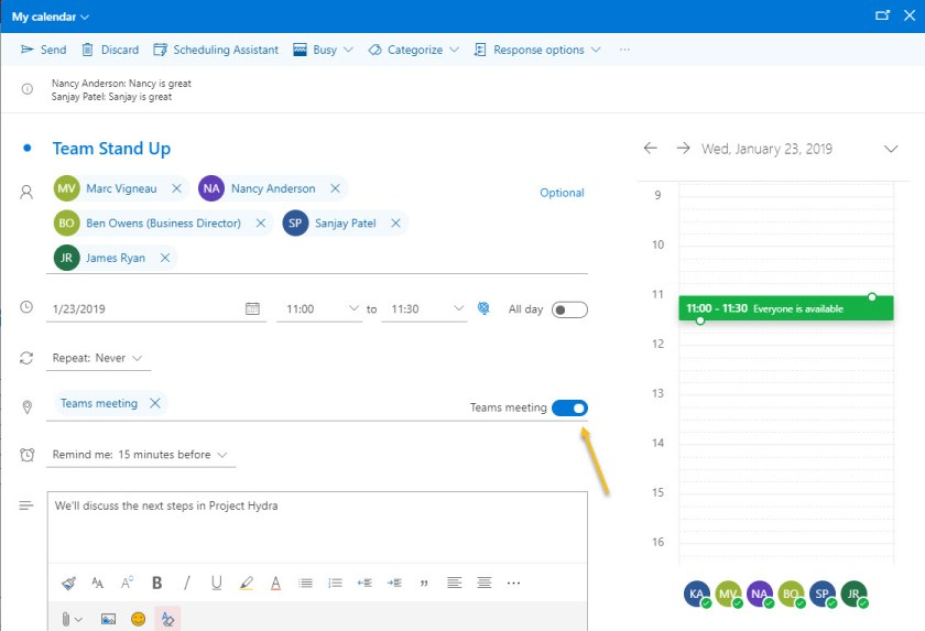 Scheduling a Microsoft Teams meeting with OWA (Outlook on the Web)