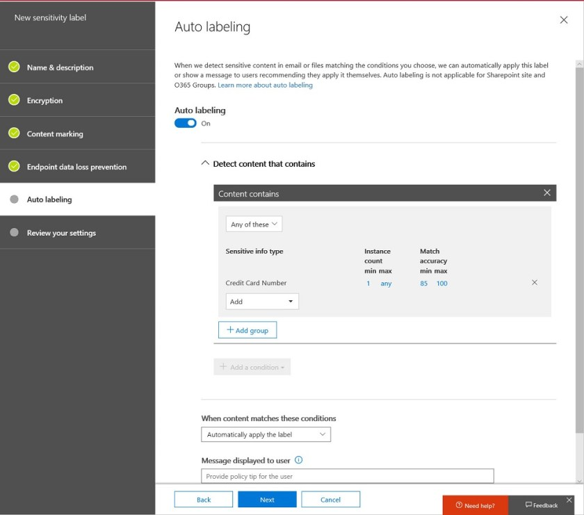 Setting auto-label conditions for an Office 365 sensitivity label