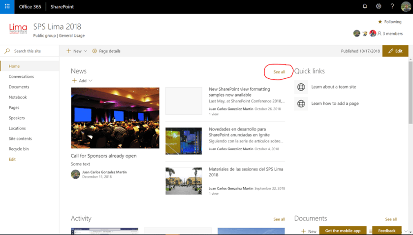 The SharePoint Online News Digest feature