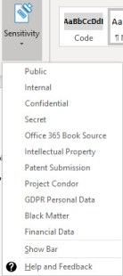 Unified Labeling client installs a Sensitivity button in the Office desktop apps