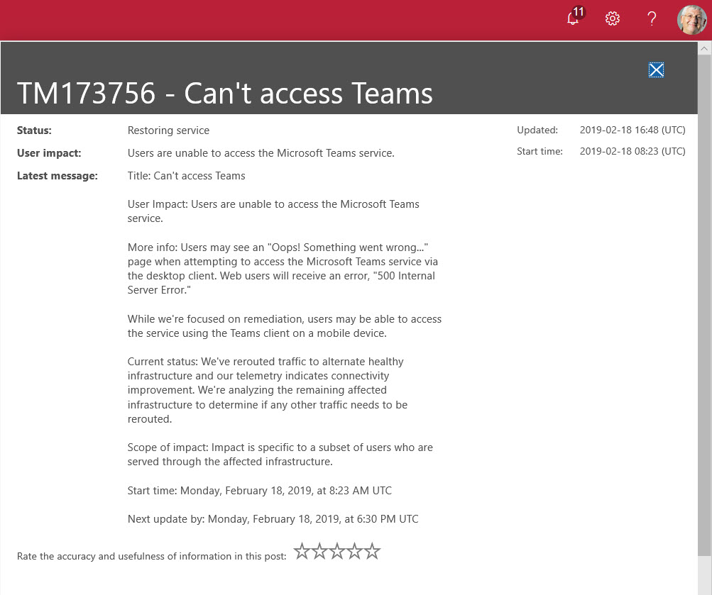 Analyzing the Teams Outage of 18 February 2019 - Office 365 for IT Pros