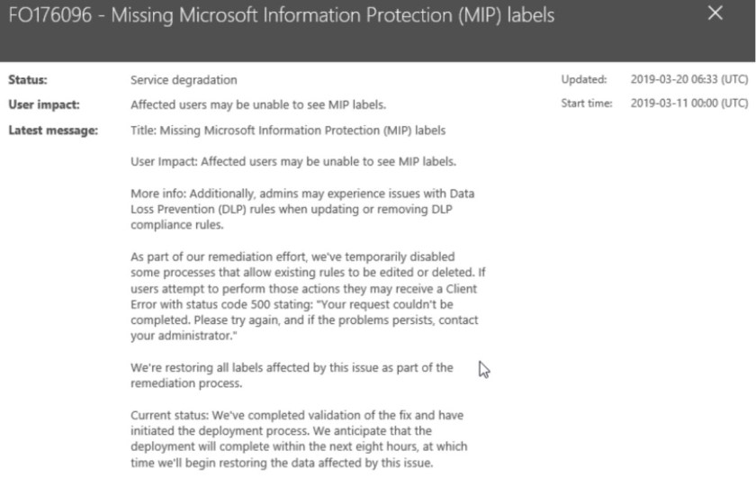 Office 365 Incident FO176096
