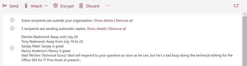 MailTips for the same message in the new version of OWA (no warning about recipient count)