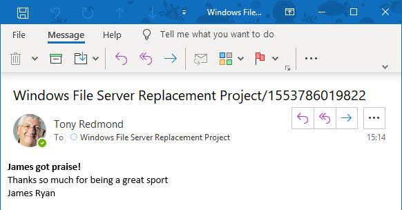Outlook displays a compliance record for a Teams praise message