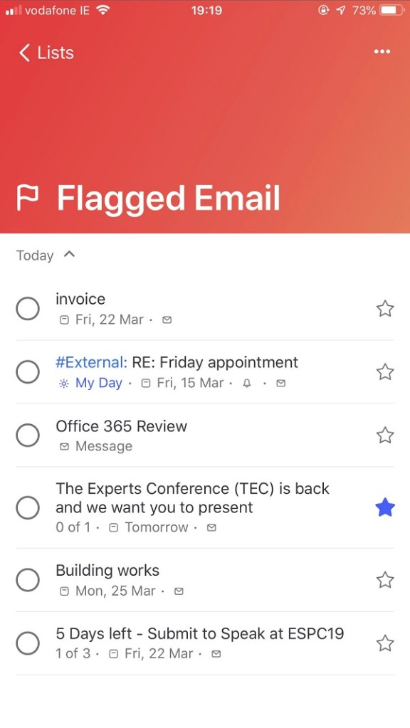 To-Do's Flagged Email View