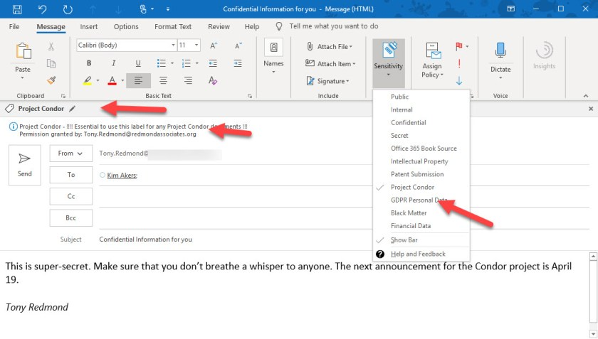 Office 365 Sensitivity Labels used with Outlook Click to Run