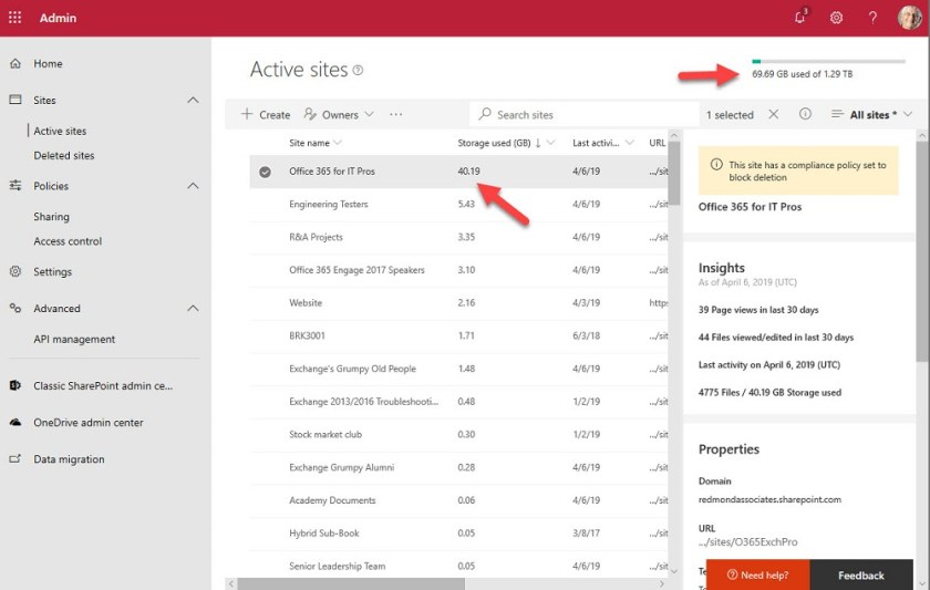 Tracking storage usage with the (new) SharePoint Admin Center