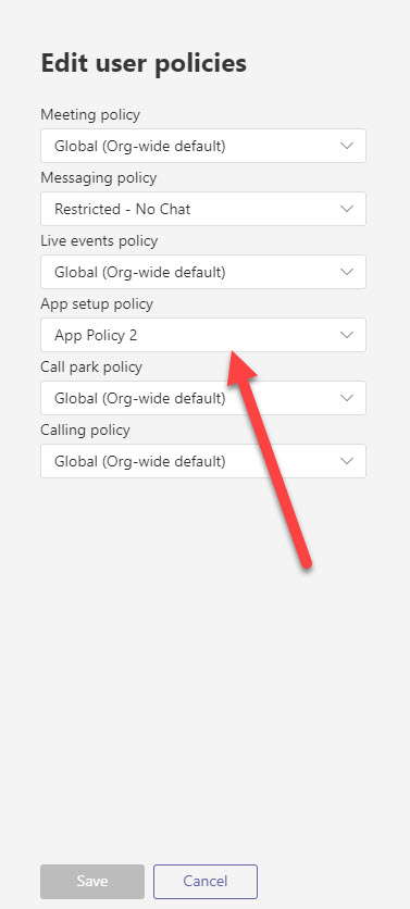Assigning an Teams app setup policy to a user
