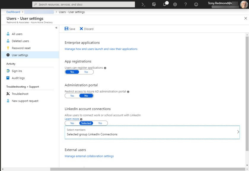 Updating Azure Active Directory with the group to control LinkedIn connections
