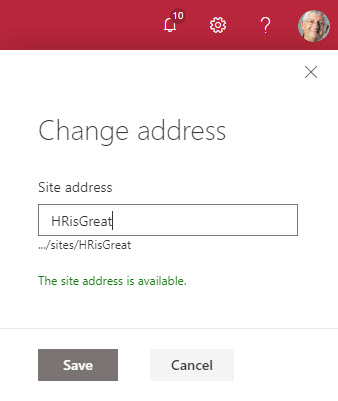 Entering a new name for the SharePoint Online site