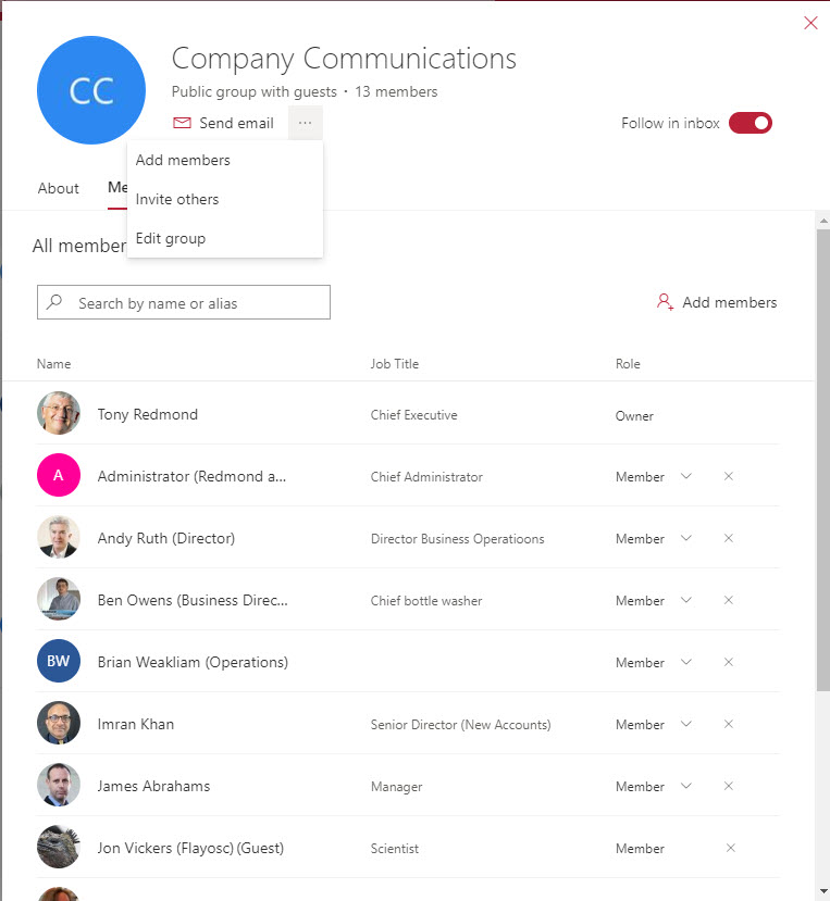 Managing Office 365 group membership through OWA