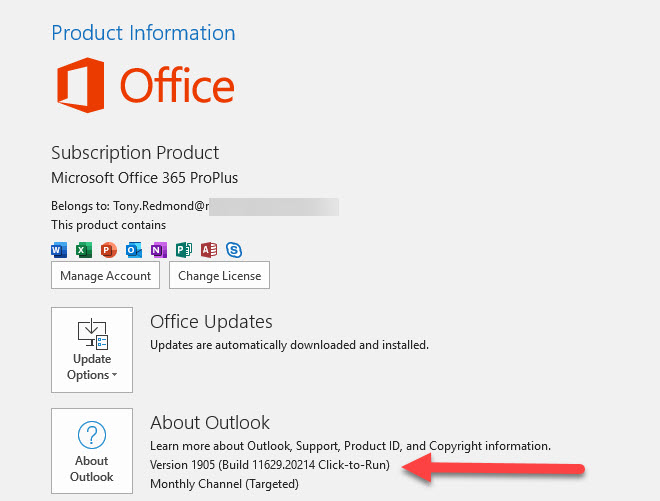 Outlook ProPlus reveals its build information