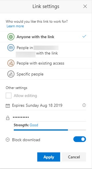 Adding a password to protect an Anyone link for a SharePoint document