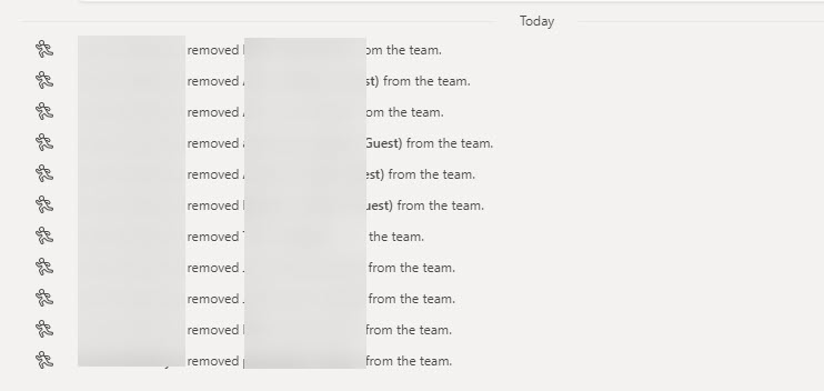 Notifications that a bunch of members have been removed from a team