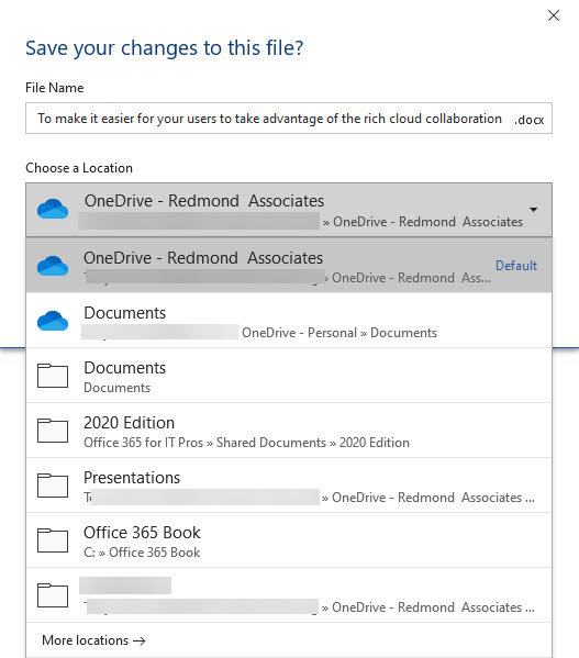 Default save locations suggested by Office, including SharePoint and OneDrive
