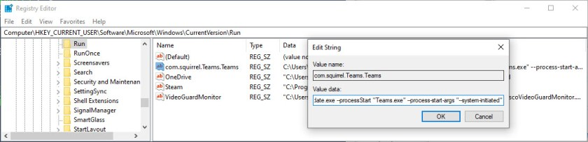 Registry Setting to Stop Teams Starting Automatically