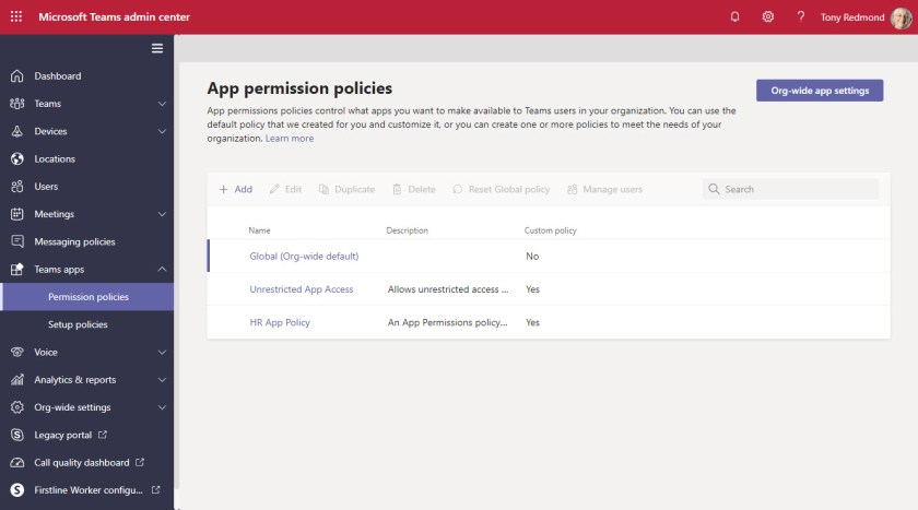 App Permission Policies in the Teams Admin Center
