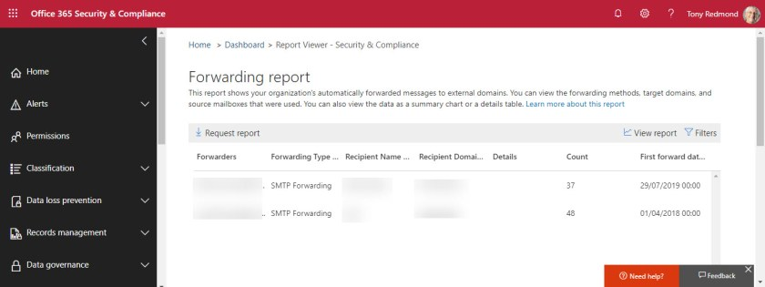 Reviewing the Forwarding report in the Security and Compliance Center