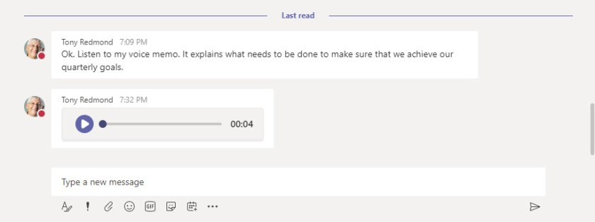 A Voice memo in a chat in the Teams browser client