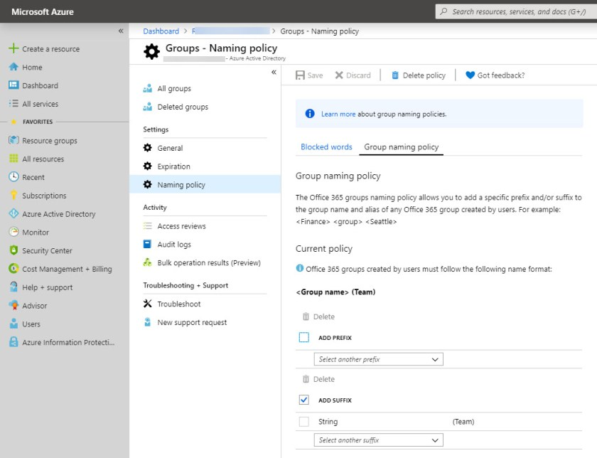 Updating the Azure Active Directory Group Naming Policy
