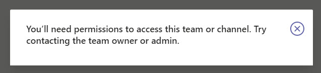 Whoops! No access to the team for the guest