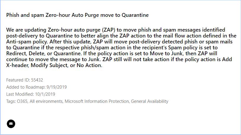 Microsoft 365 roadmap item 55432 ZAP move to quarantine