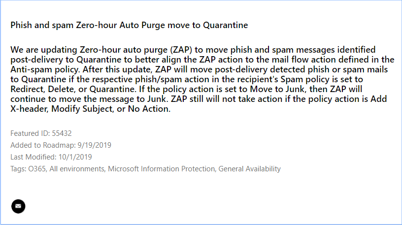 Microsoft 365 roadmap item 55432 ZAP move to quarantine