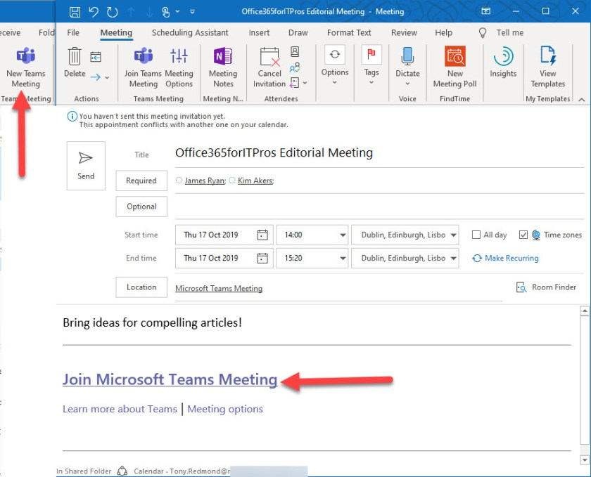 Scheduling an Online Meeting with Outlook