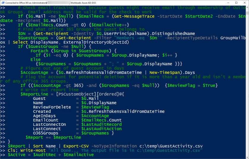 Sometimes we even include comments in our PowerShell code