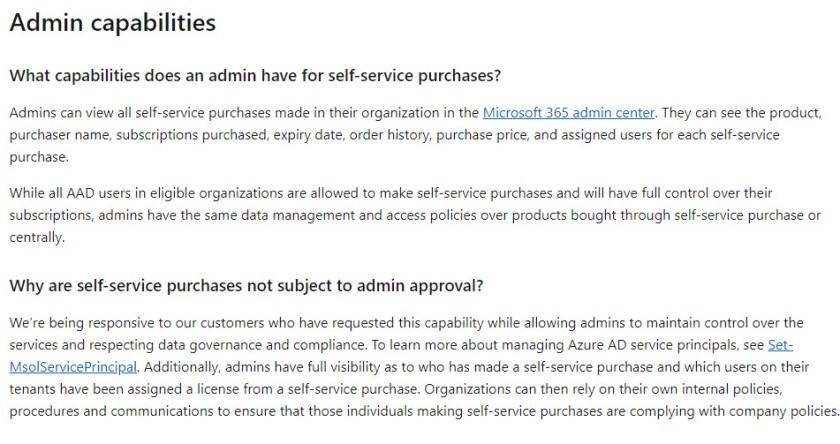 An extract from the FAQ about Self-Service Purchases for Power Platform apps