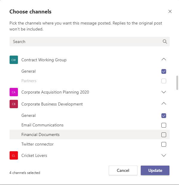 Choosing channels for cross-posting