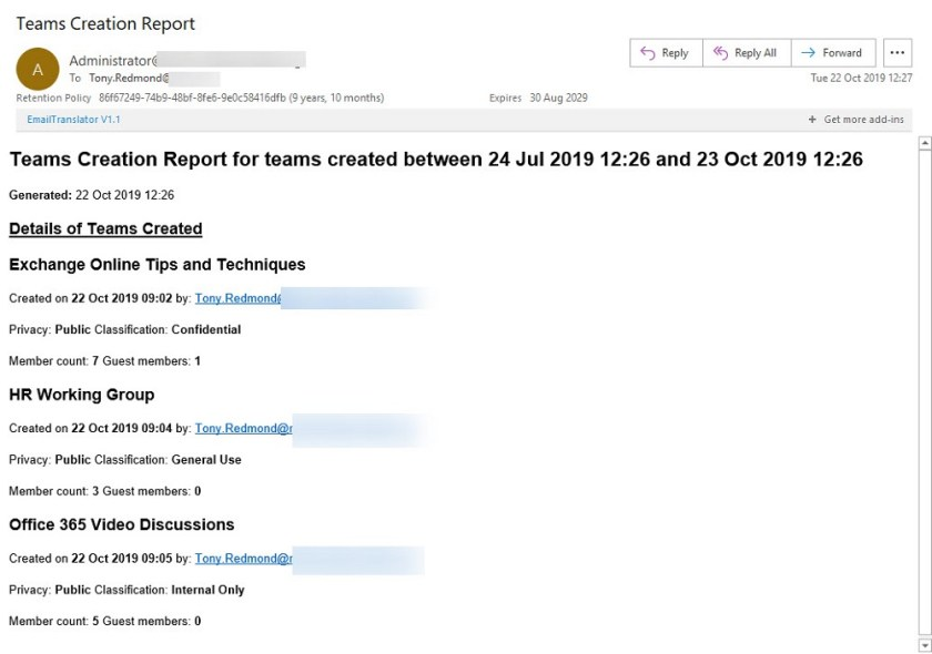 The Teams Creation Report as emailed