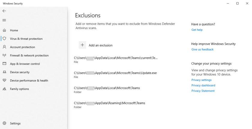 Excluding Teams files and folders from Windows Defender