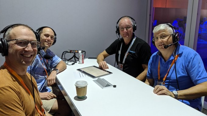 Mark Kashman, Ross Smith IV, Paul Robichaux, and Tony Redmond taping Office 365 Exposed Episode #17