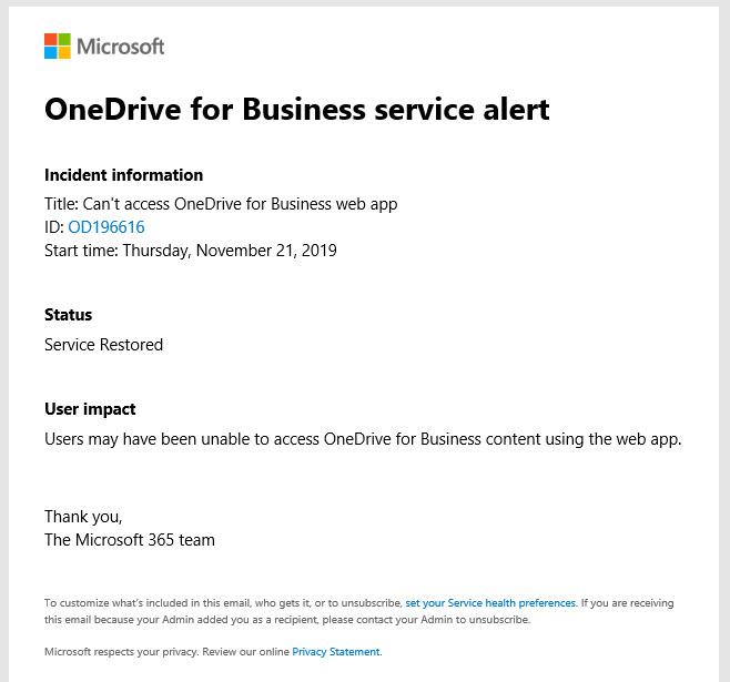 An Office 365 Service Alert