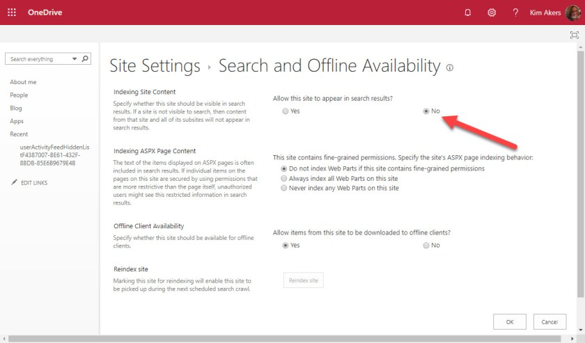 OneDrive for Business Site Settings - Search and Offline Availability