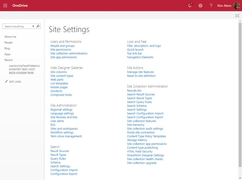 OneDrive for Business Site Settings