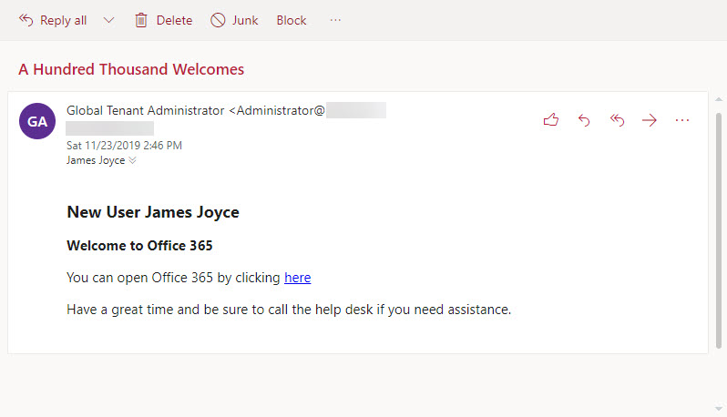 An example welcome message sent to a new mailbox