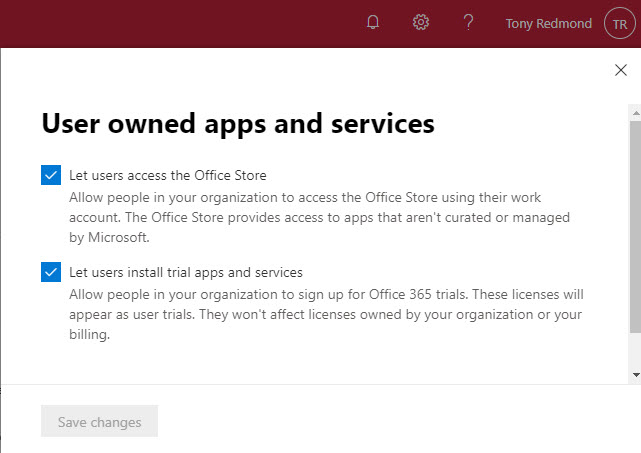 Allowing Office 365 users to install trial apps