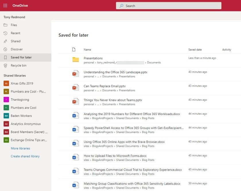 The Saved for Later list in OneDrive for Business