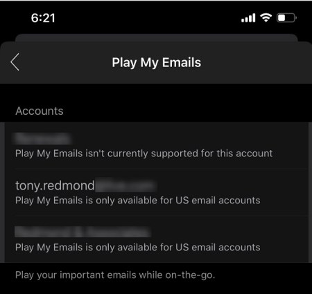 Play My Emails doesn't work outside the U.S.