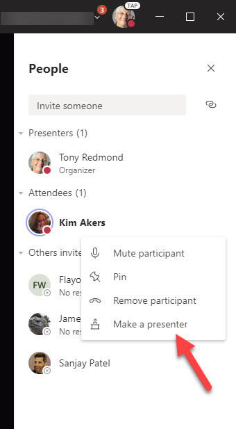 Updating a Teams meeting participant to be a presenter