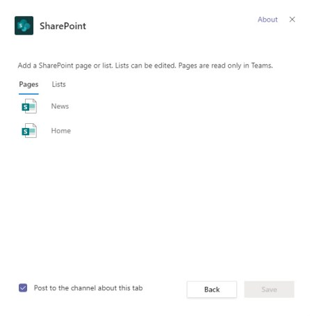 What can be published with the Teams SharePoint tab