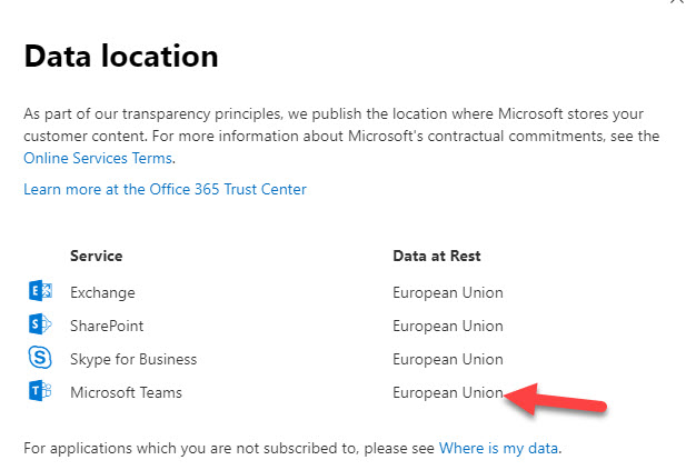 Office 365 data locations for a tenant