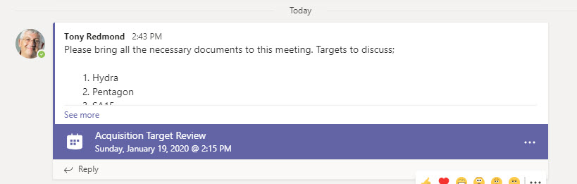 A meeting posted to a Teams channel