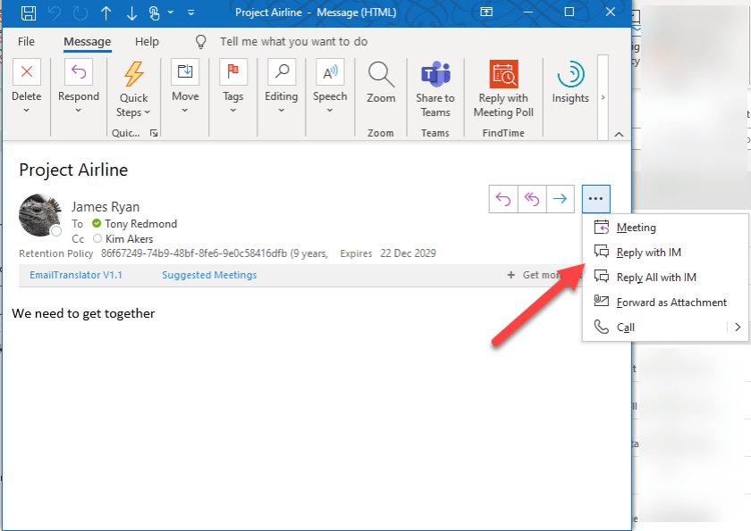 Launching Reply with IM for an Outlook message