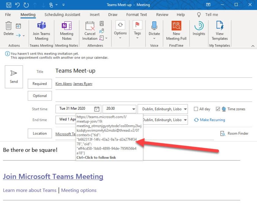 Creating a Teams meeting in Outlook